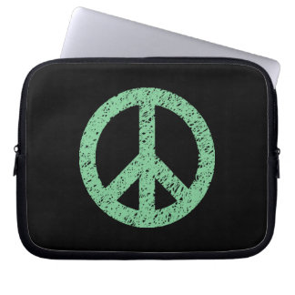 Stencilled Peace Symbol - Faded Green on Blk Computer Sleeve