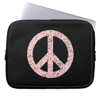 Stencilled Peace Symbol - Faded Pink on Blk Laptop Computer Sleeves