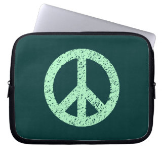 Stencilled Peace Symbol - Ghost Grn on Dk Grn Laptop Computer Sleeve