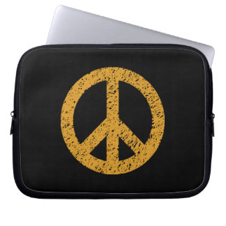Stencilled Peace Symbol - Gold on Blk Laptop Computer Sleeve