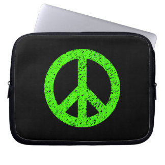 Stencilled Peace Symbol - Green on Black Laptop Sleeve