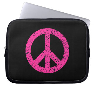 Stencilled Peace Symbol - Hot Pink on Blk Laptop Computer Sleeves