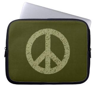 Stencilled Peace Symbol - Khaki on Dk Olive Laptop Sleeve
