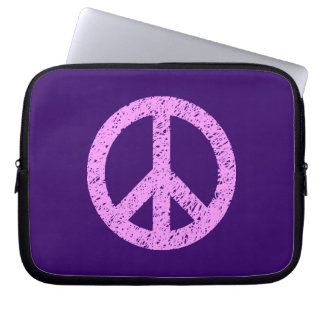 Stencilled Peace Symbol - Lilac on Dp Purple Laptop Computer Sleeve