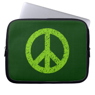 Stencilled Peace Symbol - Martian Grn on Dk Grn Computer Sleeves