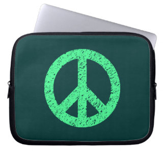 Stencilled Peace Symbol - Mint Grn on Dk Grn Computer Sleeve