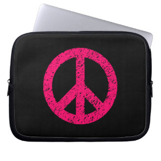 Stencilled Peace Symbol - Neon Red on Blk Laptop Sleeves