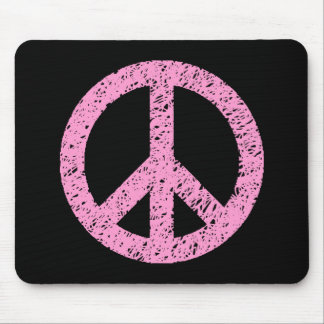 Stencilled Peace Symbol - Pink on Black Mouse Pad
