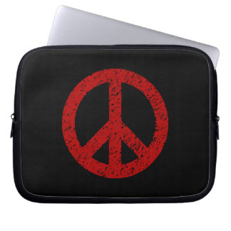 Stencilled Peace Symbol - Ruby on Blk Laptop Sleeve