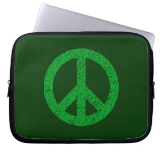 Stencilled Peace Symbol - Shades of Green Computer Sleeve