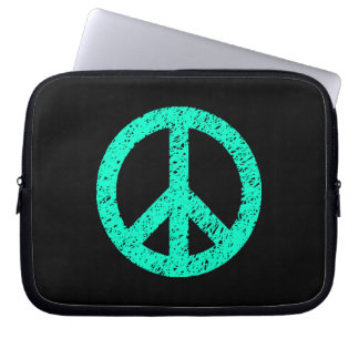 Stencilled Peace Symbol - Turquoise on Blk Computer Sleeve