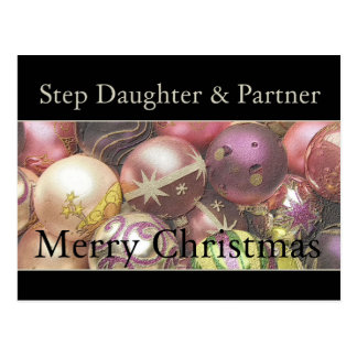 Step Daughter and Partner Merry Christmas card Postcards