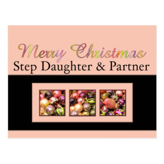 Step Daughter and Partner Merry Christmas card Post Cards