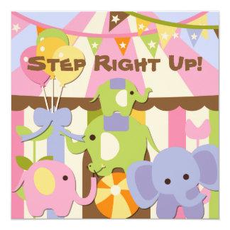 "Step Right Up Circus Birthday Invitation 5.25"" Square Invitation Card"
