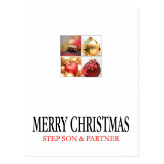 Step Son and Partner Merry Christmas card Postcard