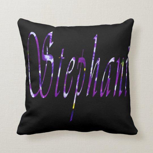 Stephanie, Name Logo, Black Throw Cushion