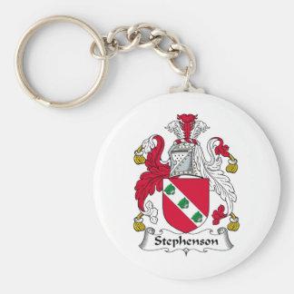Stephenson Family Crest Basic Round Button Key Ring