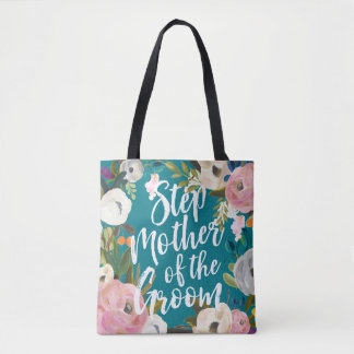 Stepmother of Groom Brushed Floral Wedding Party Tote Bag