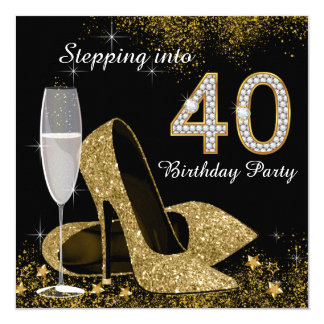 Stepping Into 40 Birthday Party Custom Announcement