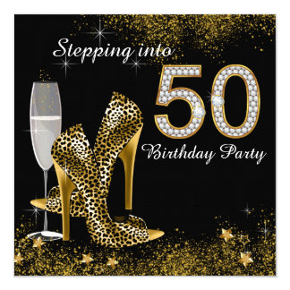 Stepping Into 50 Birthday Party 13 Cm X 13 Cm Square Invitation Card