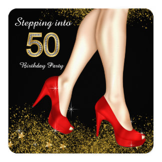 Stepping Into 50 Birthday Party Red Shoes 5.25x5.25 Square Paper Invitation Card