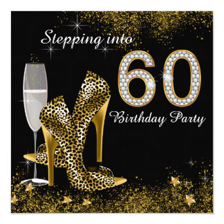 Stepping Into 60 Birthday Party 13 Cm X 13 Cm Square Invitation Card