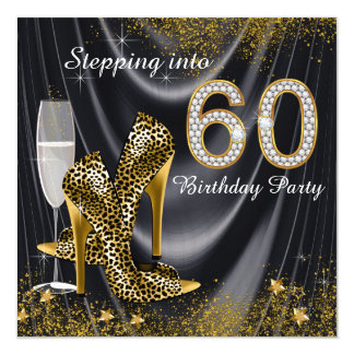 Stepping Into 60 Birthday Party Black Satin 5.25x5.25 Square Paper Invitation Card