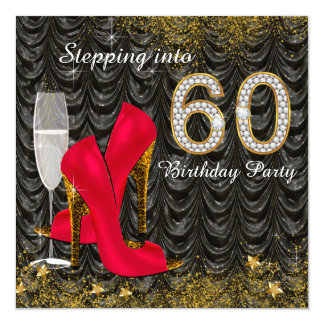 Stepping Into 60 Birthday Party Glitter Satin Red 13 Cm X 13 Cm Square Invitation Card