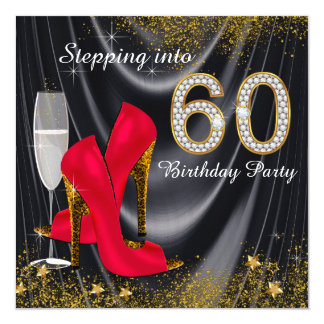 Stepping Into 60 Birthday Party Glitter Satin Red Card