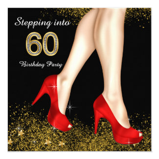 Stepping Into 60 Birthday Party Red Shoes 5.25x5.25 Square Paper Invitation Card