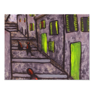 STEPS AND HOUSES 11 CM X 14 CM INVITATION CARD