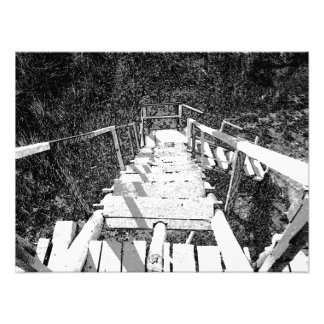 Steps down a wooden watch tower photographic print