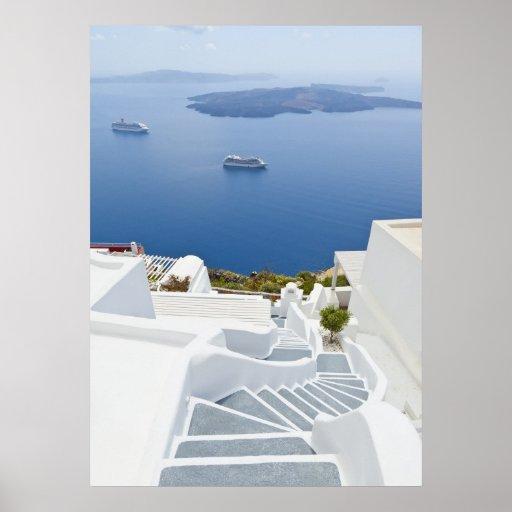 Steps of Santorini Posters