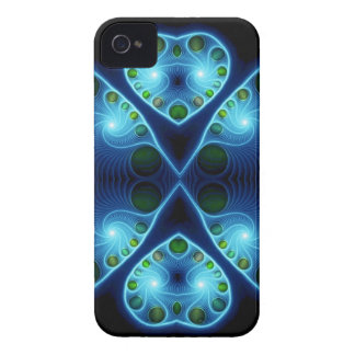 Stereo Love Heart Fractal Aqua Blue iPhone 4 Case-Mate Cases