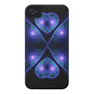 Stereo Love Heart Fractal Purple iPhone 4 Case