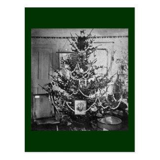 Stereoview Christmas Tree Victorian 1800s Vintage Postcard