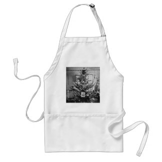 Stereoview Christmas Tree Victorian 1800s Vintage Standard Apron