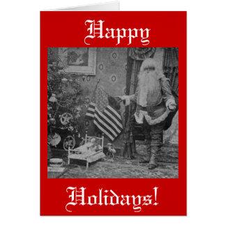 Stereoview Santa & American Flag Christmas Greeting Card