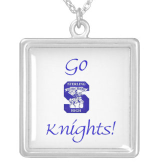 Sterling High Go Knights Logo II Square Necklace