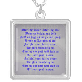 Sterling High School Alma Mater Square Necklace