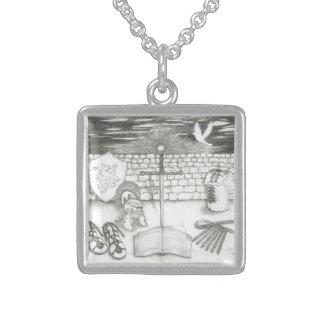 Sterling Silver-Framed Armor Necklace