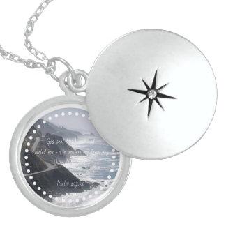 Sterling Silver Healing Scripture Locket Ocean