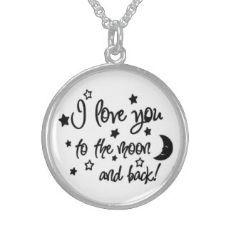Sterling Silver-I Love You To The Moon and Back Round Pendant Necklace