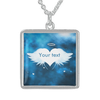 Sterling Silver Necklace - Angel of the Heart Square Pendant Necklace