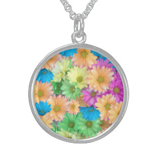 Sterling Silver Necklace - Crazy Color Carnations