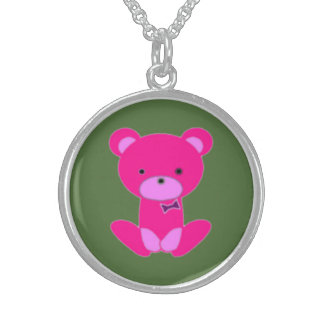 Sterling Silver Pink Teddy Round Necklace