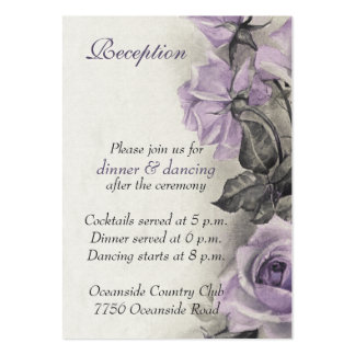 Sterling Silver Purple Rose Wedding Reception Card Pack Of Chubby Business Cards