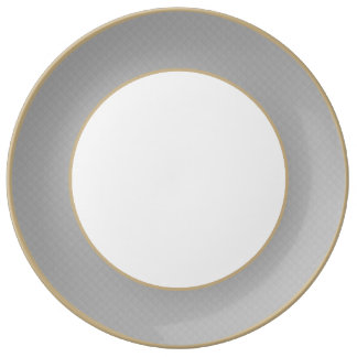 Sterling Silver Quilted Pattern Porcelain Plate