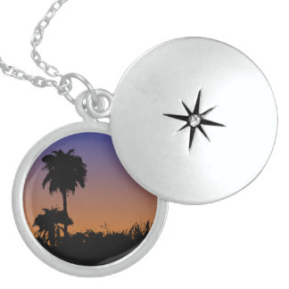 Sterling Silver Round Locket tropical design