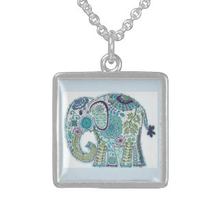 Sterling Silver Squar Paisley Elephant Chain Sterling Silver Necklace
